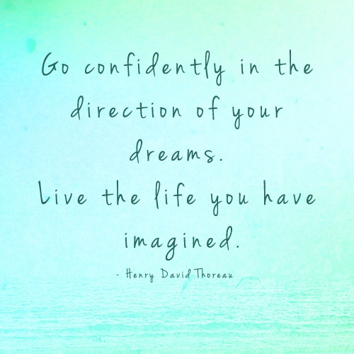 Image of quote: Go confidently in the direction of your dreams. Live the life you've imagined.